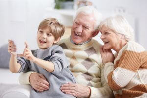 old couple with grandson